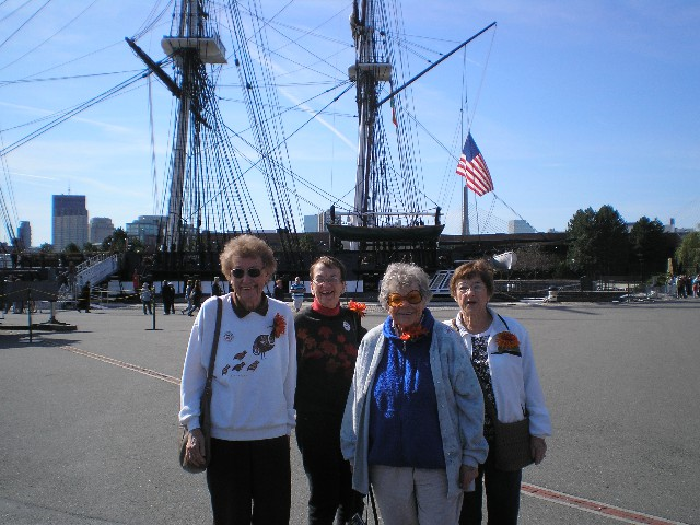 4 Ladies - Big Ship in Background